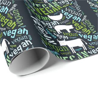 """Vegan"" Word-Cloud Mosaic with Pig, Hen & Cow Wrapping Paper"