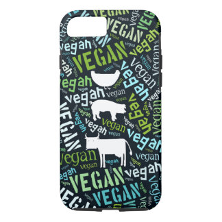 Vegan word cloud with a cow, pig and a chic iPhone 7 case