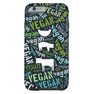 Vegan word cloud with a cow, pig and a chic tough iPhone 6 case