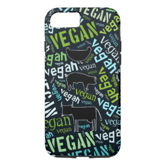 Vegan word cloud with a cow, pig and a chicken iPhone 7 case