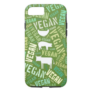 Vegan word cloud with a cow, pig and chicken iPhone 7 case