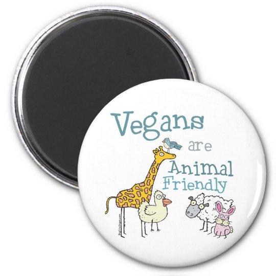 Vegans are Animal Friendly 6 Cm Round Magnet