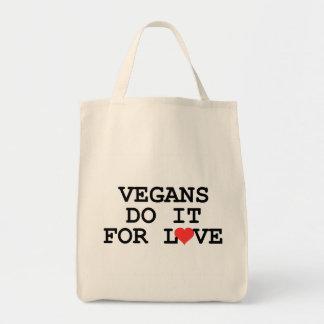 Vegans Do It For Love Vegan Grocery Tote Bag