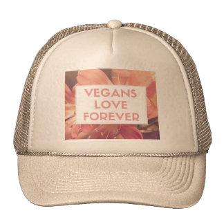 Vegans Love Forever womens trucker cap flower hat