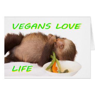 vegans love life , slothie card