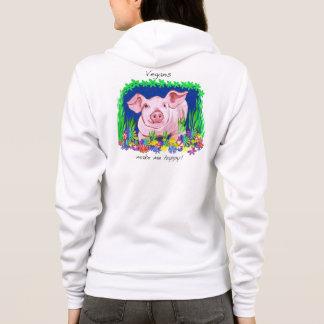 Vegans make me happy! Cute pig hoodie