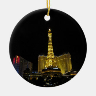 Vegas at night christmas ornament