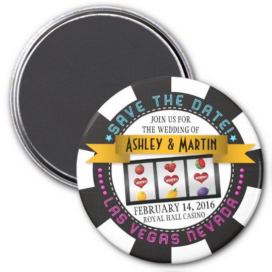 Vegas Casino Destination Wedding Save the Date 7.5 Cm Round Magnet