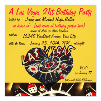 Vegas Casino Theme Twenty-first Birthday Party 13 Cm X 13 Cm Square Invitation Card