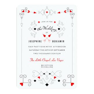 Vegas Cupid's Hearts Diamonds Wedding Invitation