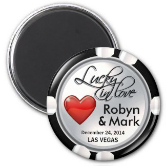 Vegas Lucky in Love Casino Chip white red Magnet