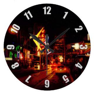 Vegas Nightlife - Las Vegas Nevada Large Clock