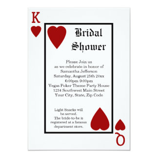 Vegas Playing Card King/Queen Bridal Shower 13 Cm X 18 Cm Invitation Card