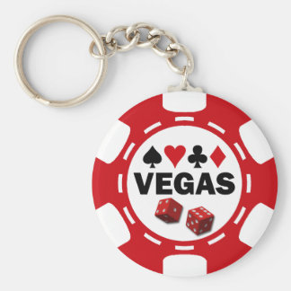 VEGAS POKER CHIP BASIC ROUND BUTTON KEY RING