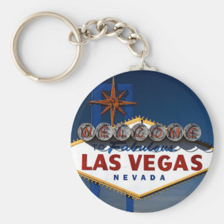 Vegas Sign Dusk Basic Round Button Key Ring