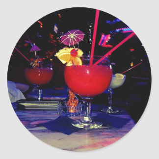 Vegas Tropical Cocktail Funky Round Stickers