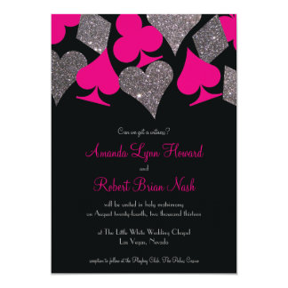 Vegas Wedding Black Hot Pink Silver Faux Glitter Card