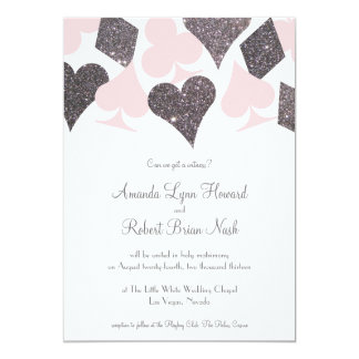 Vegas Wedding Blush Pink and Silver Faux Glitter 13 Cm X 18 Cm Invitation Card