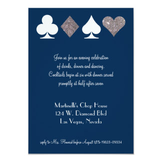 Vegas Wedding Celebration Navy Silver Faux Glitter Card
