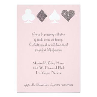 Vegas Wedding Celebration Pink Silver Faux Glitter 11 Cm X 16 Cm Invitation Card