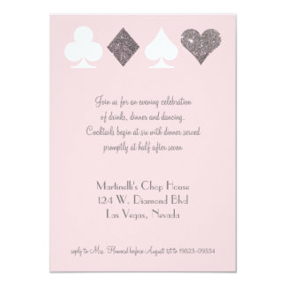 Vegas Wedding Celebration Pink Silver Faux Glitter Card