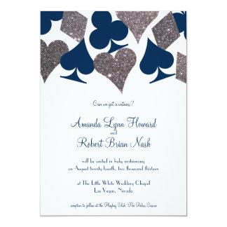 Vegas Wedding Navy Blue Silver Faux Glitter 13 Cm X 18 Cm Invitation Card
