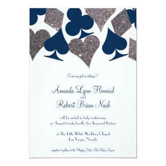 Vegas Wedding Navy Blue Silver Faux Glitter Card