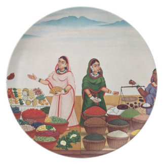 Vegetable and Spice Market at Benares, c.1840 (gou Party Plates