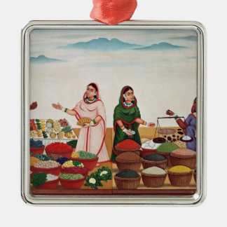 Vegetable and Spice Market at Benares, c.1840 (gou Silver-Colored Square Decoration