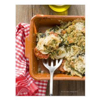 Vegetable bake with potatoes, tomatoes, leeks postcard