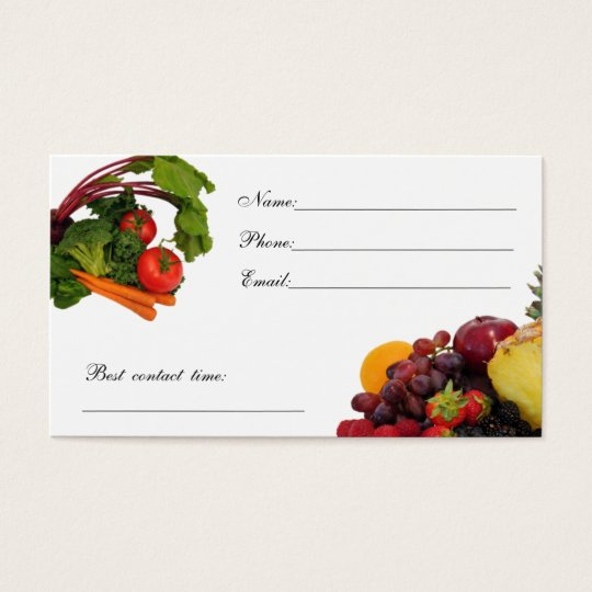 Vegetable Contact Card 3