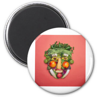 Vegetable Face 6 Cm Round Magnet