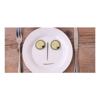 Vegetable Face Custom Photo Card