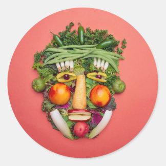 Vegetable Face Round Sticker