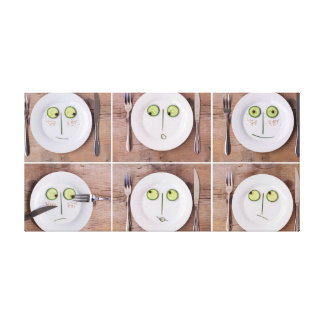 Vegetable Faces Stretched Canvas Print