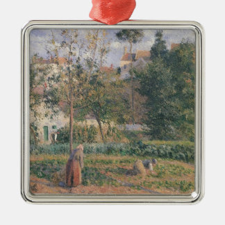 Vegetable Garden at the Hermitage Silver-Colored Square Decoration