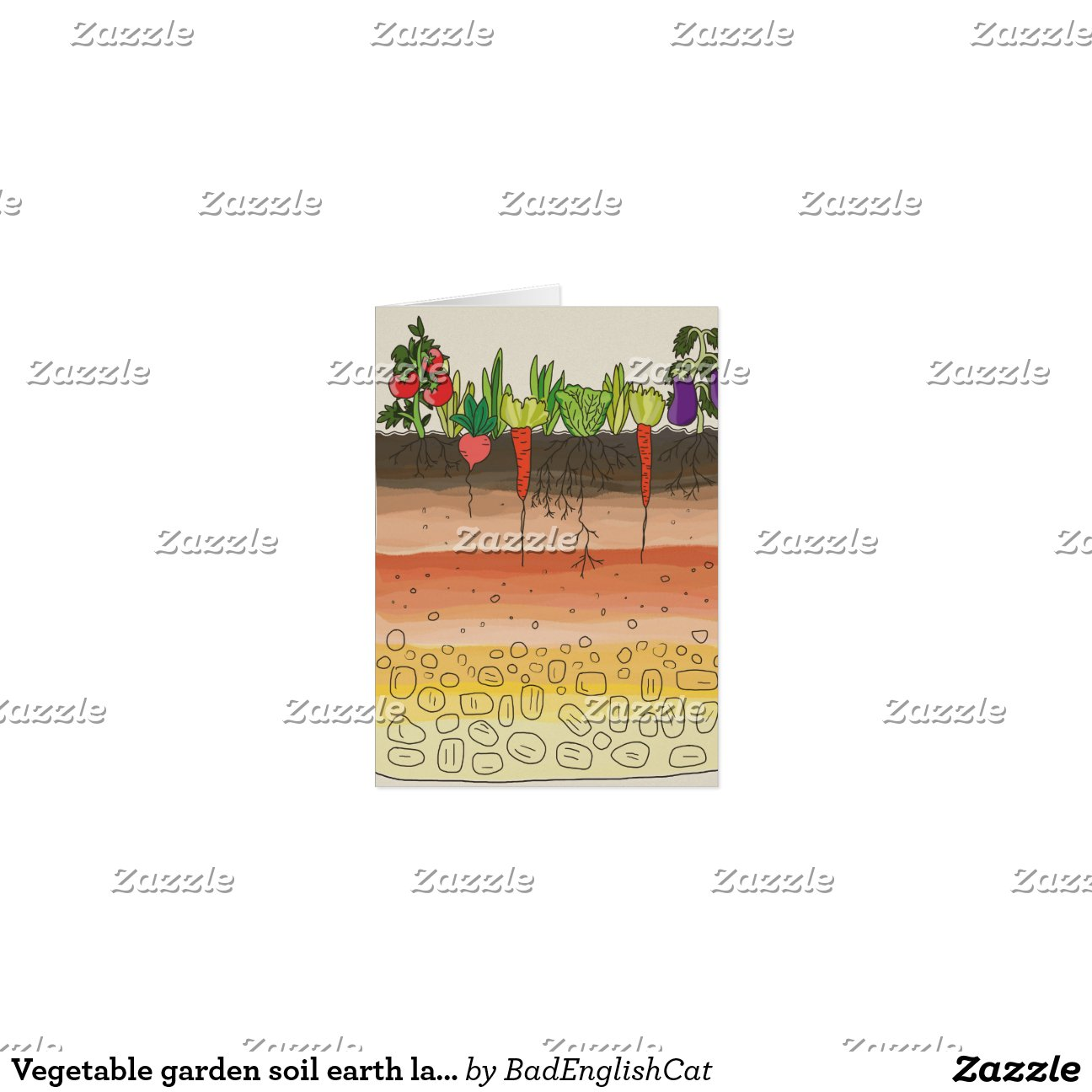 Vegetable garden soil earth layers nature art greeting for Earth soil layers