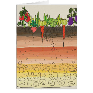Vegetable garden soil earth layers nature art greeting card