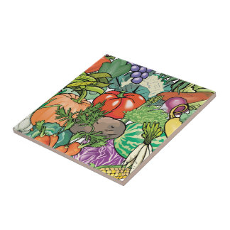 Vegetable Gardener Small Square Tile