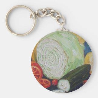 Vegetable Medley Basic Round Button Key Ring