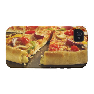 Vegetable pizza sliced on black pan on wood iPhone 4/4S cover