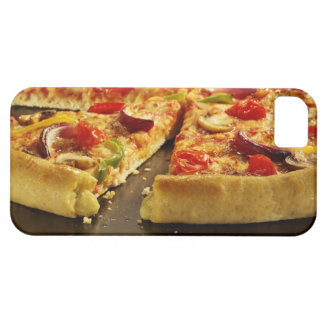 Vegetable pizza sliced on black pan on wood iPhone 5 cases