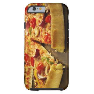 Vegetable pizza sliced on black pan on wood tough iPhone 6 case