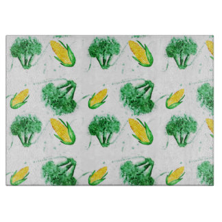 Vegetable seamless watercolor pattern cutting board
