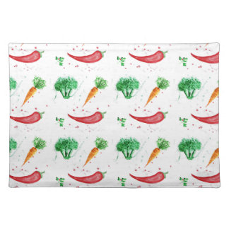 Vegetable seamless watercolor pattern placemat