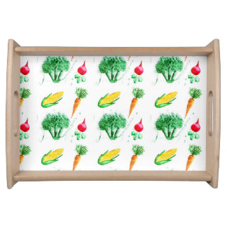 Vegetable seamless watercolor pattern serving tray