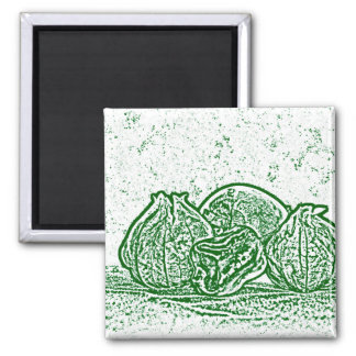 vegetable still life green and white refrigerator magnets