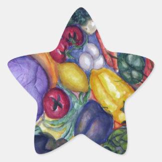 Vegetable Watercolor Art Star Sticker
