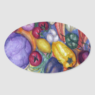 Vegetable Watercolor Art Oval Sticker