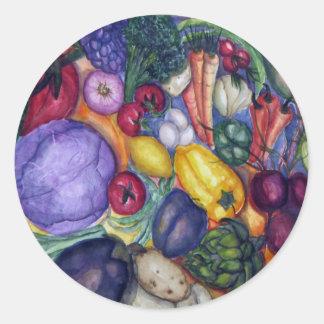 Vegetable Watercolor Art Round Sticker